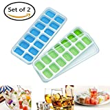 Ice Cube Trays with Lids Pack of 2 with 28 Ice Cubes Molds LFGB/FDA Approved Ice Cube Muffin Pudding Mould Food Grade Silicone Plastic Stackable Ice Tray(Blue Green)