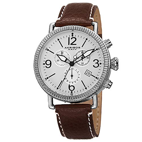 Akribos XXIV Men's AK753SS Swiss Chronograph Quartz Movement Watch with Silver Matte Dial and Brown with Cream Stitching Leather over Nubuck Strap ()
