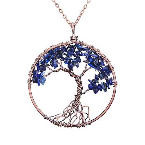 Family Root Wire Wrapped Copper Tree of Life Crystal Pendant Necklace Nature Semi Precious Raw Lapis Lazuli Quartz Birth Stone Pendant Wire Wrapped Vintage Jewelry Mothers Day Gift