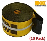"""Mytee Products (10 Pack) Kinedyne 4"""" x 30' Winch Straps with Flat Hook Flatbed Trailer - Gold"""