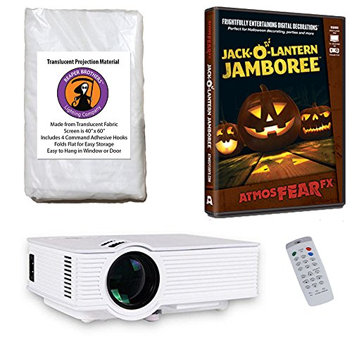 AtmosFearFx Jack O Lantern Jamboree Halloween DVD Projector Kit with 1900 Lumen LED Video Projector, Reaper Brothers High Resolution Window Rear  Projection Screen