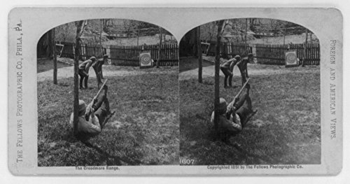 1891 Photo The Creedmore Range Man reclining against tree, with muzzle-loading rifle resting on top of feet, aiming at target; 2 boys (Target Kids Watches)