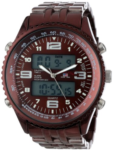 (U.S. Polo Assn. Classic Men's US8461 Analog-Digital Brown Dial Brown Plated Bracelet Watch)