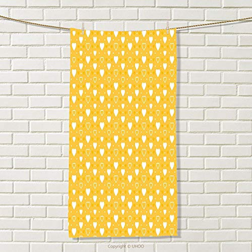 smallbeefly Yellow Travel Towel Full and Empty Heart Shapes with Little Dots and Tiny Cute Sweet Hearts Pattern Quick-Dry Towels Yellow White Size: W 27.5