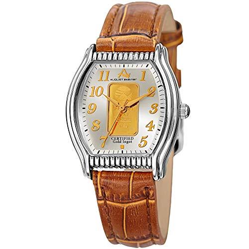 August Steiner Certified Gold Ingot Bar Women's Watch – Genuine Leather Alligator Embossed Tan Strap, Barrel Tonneau Shaped Silver Case - AS8225TN