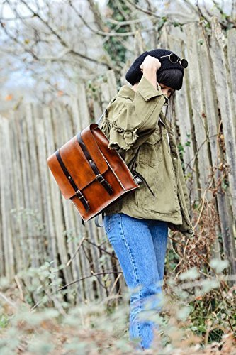 Natural Brown Leather Women's Handmade Backpack by AnyLeatherDesigns