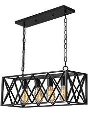 Industrial Kitchen Island Pendant Lighting Pynsseu Rectangular Vintage 4-Light Ceiling Hanging Light Fixtures for Farmhouse, Bar, Dinning Room