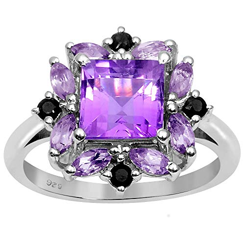 2.60 Ctw Amethyst & Sapphire Stone Rings For Women By Orchid Jewelry: Anniversary & Promise Rings For Women & Her, Multi Birthstone Wedding Jewelry, Fashion Rings Size 8