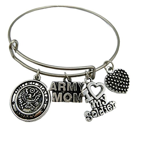 (United States Army Mom Bracelet Stainless Steel Adjustable Wire Bangle I Love My Soldier Charm Women