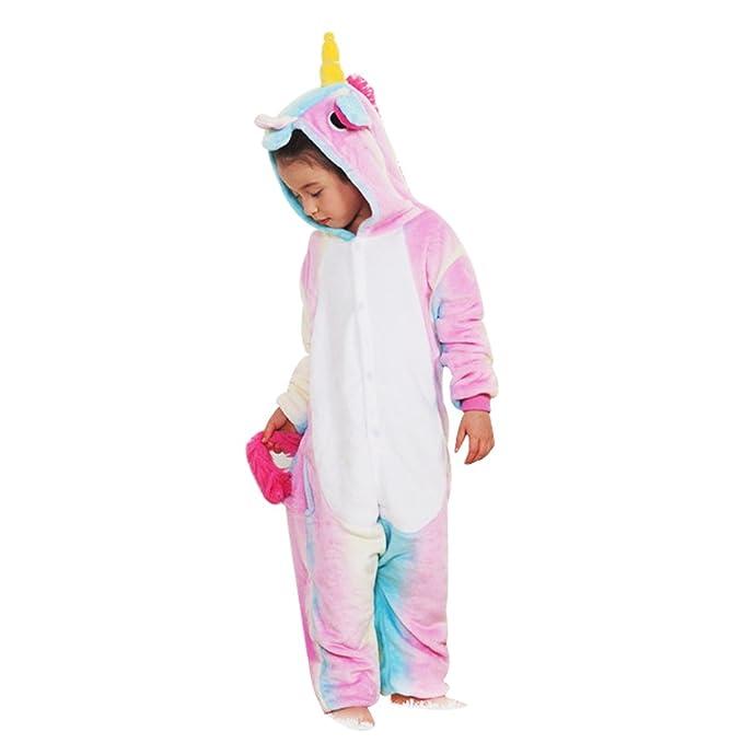 OAMORE Unicornio Pijama Unisexo Animal Ropa de Dormir Cosplay Disfraces Pijamas para Adulto Niños (Colorful