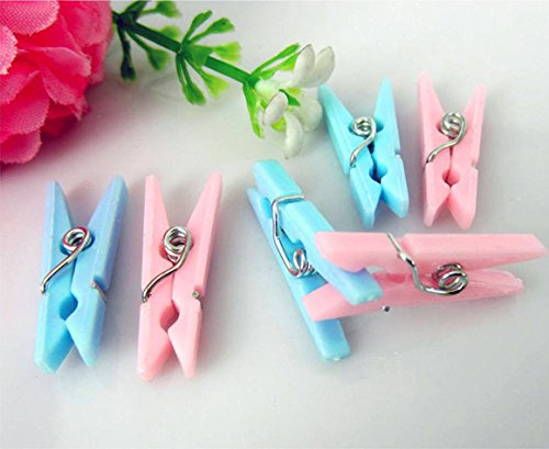 Adorox (Blue (48 Pieces) Small Clothes Pins Baby Shower Clothespin Favors Pink Girl Blue Boy Party Game