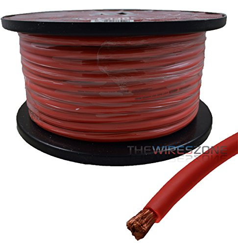 4 AWG Gauge 125ft 100% Copper Flexible Power Ground Wire Cable True Spec Red by The Wires Zone