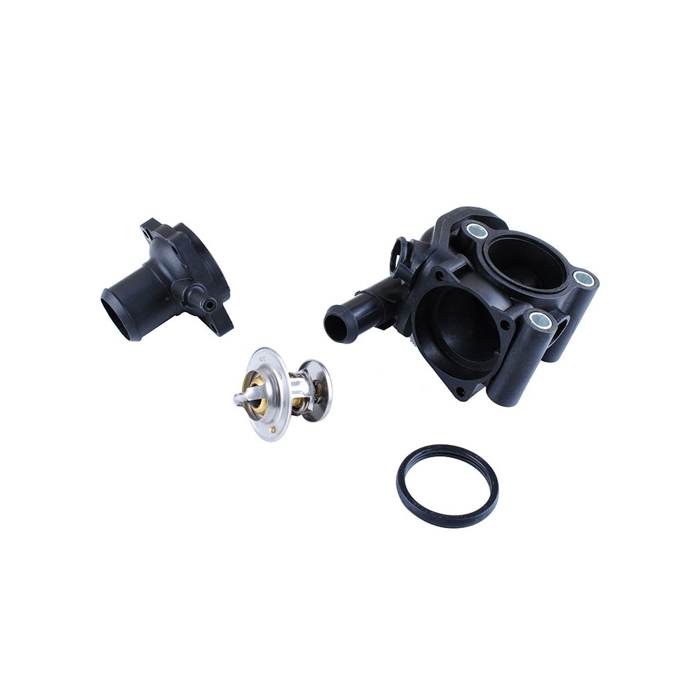 Podoy 902-201 YS4Z-8592-BD Thermostat Housing Water Outlet Coolant for 2000-2004 FORD Mazda FOCUS 2.0L Replace F8RZ-8575-CA W505976-S303 W700319-S300 XS4Z-8592-AC