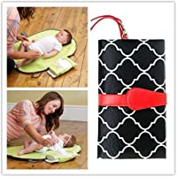 Babies Bloom Waterproof Portable Baby Changing Station Mommy Clutch, Red/Black