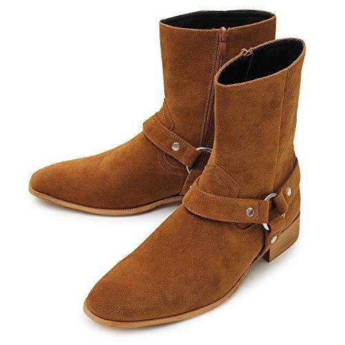 glabella グラベラ メンズ ブーツ ウエスタン サイドジップ メンズ ヒールアップ 靴 スエード ハーネス レザー ジョッパー glbb-131