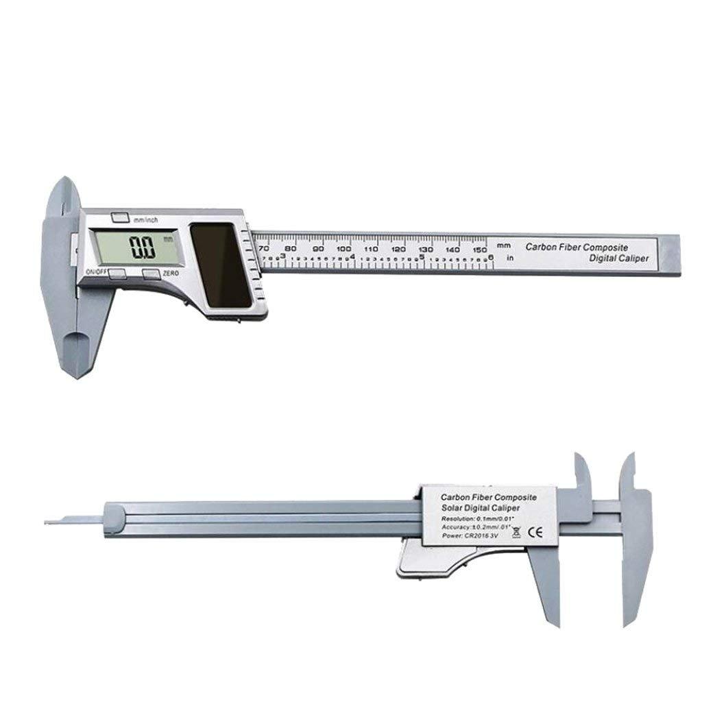 1PCS Measuring Tool 0-150mm 6 inch Solar Power plastic Vernier Caliper Fiber Digital Caliper with Digital Display (Solar plastic Digital Vernier Calliper)