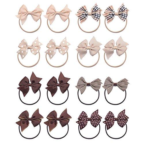KOONY Baby Girls Hair Bow Elastic Ties Ponytail Holders Hair Bands 16pc (Brown)