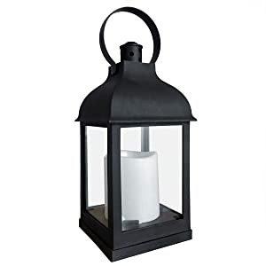 Decorative Lanterns with Timer Flameless Candle Using Battery for 11''H Outdoor and Indoor Hanging,Lantern Decor for Wedding with Plastic and Bronze Hue.