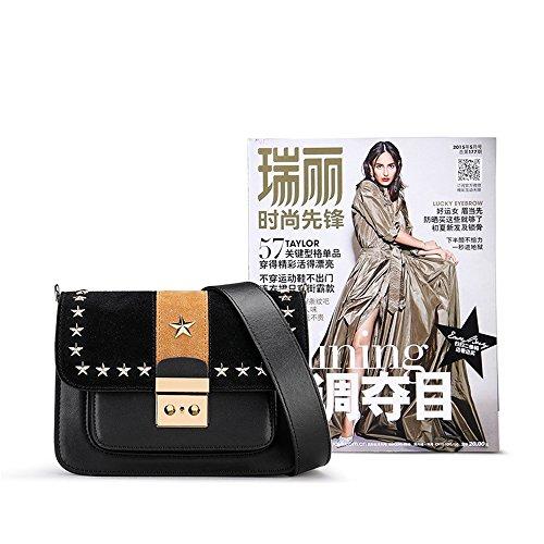 Shoulder Metal For Lock Suitable Retro Everyday Use Leather Portable Messenger Square Bag Star Simple Black Bag Asdflina nWH8xg6