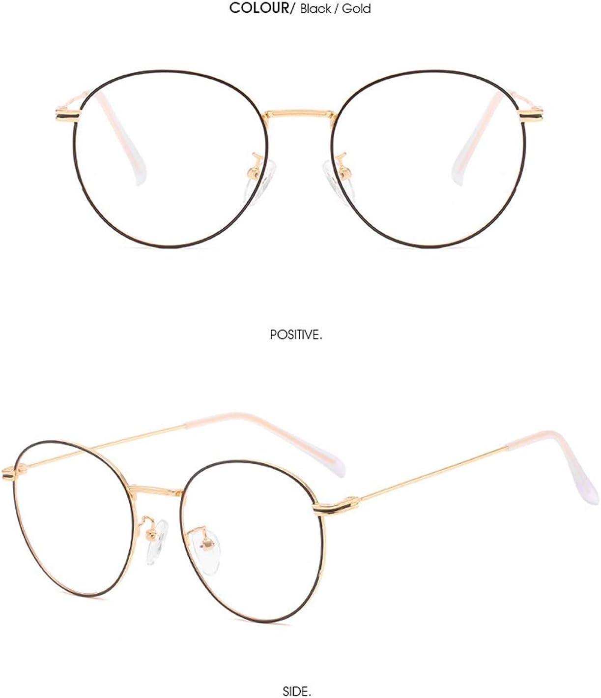 Silbern JIUPO Unisex Klassische Nerdbrille Metall Frame Runde Brille 40er 50er Klare Linse Schwarz Golden