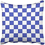 Pillow Covers Print Checkboard Blue and White Pattern Chess Checker Bright Checkerboard Wall Floor Abstract Board Polyester Zippered 18x18 Square Pillow Case For Home Bed Couch Sofa