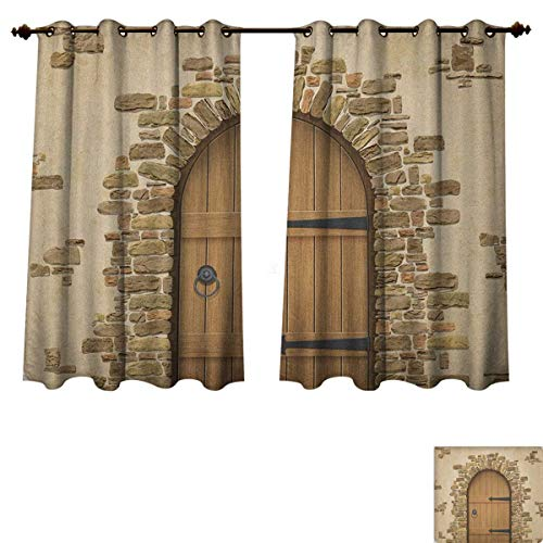 (PriceTextile Rustic Blackout Thermal Backed Curtains for Living Room Wine Cellar Entrance Stone Arch Ancient Architecture European Building Customized Curtains Sand Brown Pale Brown Size W63 xL63)