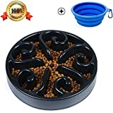 Pet Fun Feeder Dog Bowl Slow Feeder, Bloat Stop Dog Food Bowl Maze Interactive Puzzle Non Skid, Come Free Travel Bowl (Black)