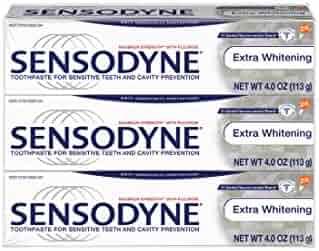 Sensodyne Sensitivity Toothpaste, Extra Whitening for Sensitive Teeth, 4 ounce (Pack of 3)