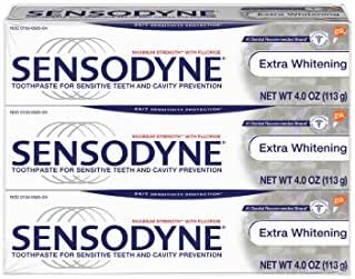 Sensodyne Toothpaste for Sensitivity, Extra Whitening for Sensitive Teeth, 4 Ounce (Pack of 3)