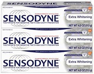 Sensodyne Toothpaste for Sensitivity, Extra Whitening for Sensitive Teeth, 4 Ounce (Pack of 3)