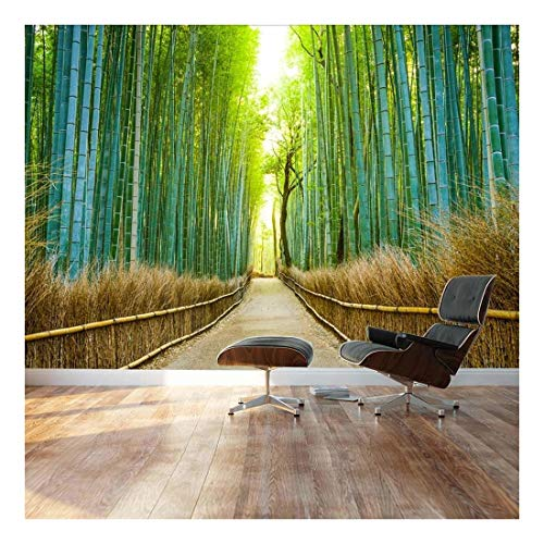 wall26 - Bamboo Forest with a Cleared Path Headed into a Sunny clearing - Green and Gold Branches - Landscape - Wall Mural, Removable Sticker, Home Decor - 66x96 inches -