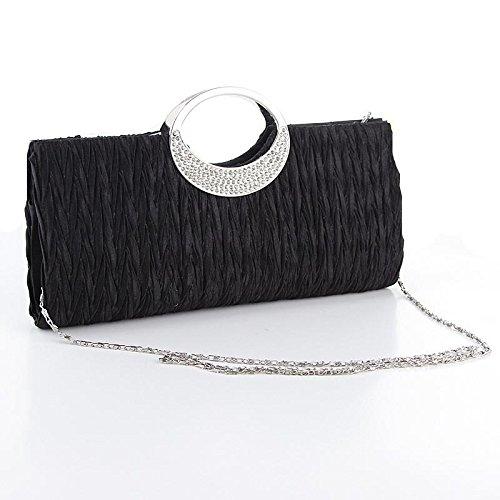Bolso mujer sat¨¦n plisado moda ChainShoulder bolso de noche , black (spot) black (spot)