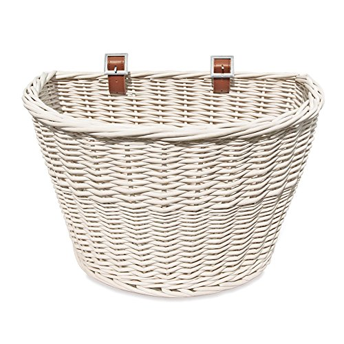 Colorbasket 01570 Adult Front Handlebar All Wicker Bike Basket, Hand Woven, Adjustable Leather Straps, White (Schwinn Bicycle Basket)