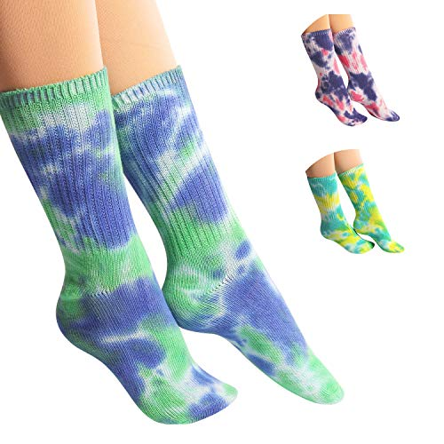 (DREAM SLIM - A Collection of Tie Dye Novelty Fashion Colorful Cool Crazy Skateboard Crew Socks 5 Pack/6 Pack)