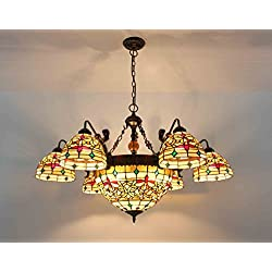 FixtureDisplays Tiffany Style Glass & Steel Ceiling Lamp with 8 Arms Flower Chandelier Fixture 16691