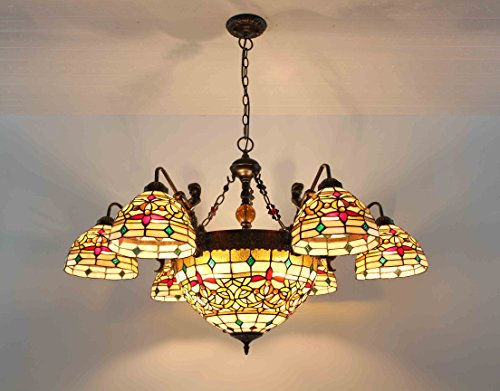 FixtureDisplays Tiffany Style Glass & Steel Ceiling Lamp with 8 Arms Flower Chandelier Fixture 16691 Tiffany Style Pendant Chandelier