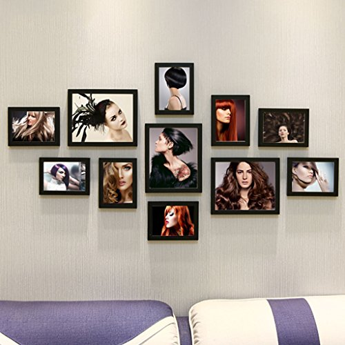 Home@Wall photo frame Living Room Photo Frame Wall ,Creative Wall Photo Frame Combination 11 Pcs/sets Collage,Family Picture Frame Wall DIY Photo Frame Sets ( Color : A , Size : 11frames/13570CM ) by ZGP