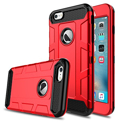 iPhone 6s Case, iPhone 6 Case, Venoro Shockproof Slim Anti Scratch Hybrid Three Layer Heavy Duty Armor Defender Protective Case Cover Compatible with iPhone 6/6s 4.7 inch (Red)