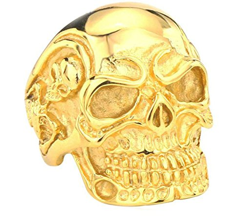 [Aooaz 316L Stainless Steel Mens Ring Bands Skull Gold Size 10 Punk Gothic Vintage Novelty Ring] (Tarnished Costume Jewelry Cleaner)