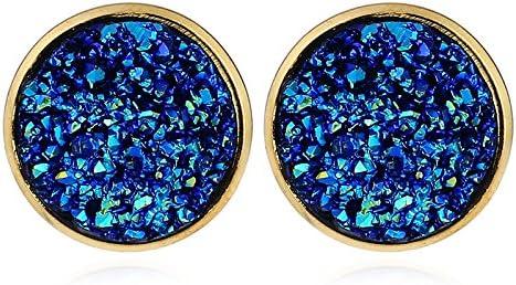 MDGWM Pendientes pequeños Multicolores Frescos y Sencillos Pendientes de Resina, te Dan la sensación de Amor Azul Zafiro
