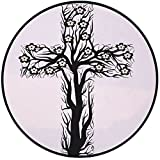 Printing Round Rug,Baptism,Floral Christian Cross in Tree Shape Christ Religion Prayer Blessed Miracle Symbol Mat Non-Slip Soft Entrance Mat Door Floor Rug Area Rug For Chair Living Room,Black Cream
