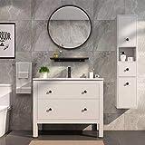 "Simmer Stone Wall Mount Round Mirror, Modern Decorative Metal Framed Mirror, Diameter 25.6"", Black"