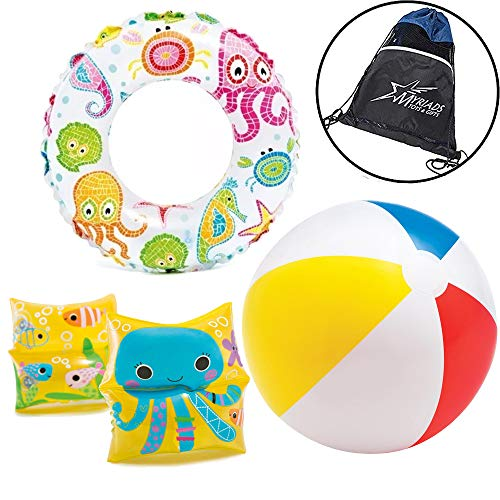 Intex Inflatable Kids Pool Toy Set, with Classic Beach Ball, Sea Life Arm Band Floaties, and Sea Animal Donut Ring, with Drawstring Bag