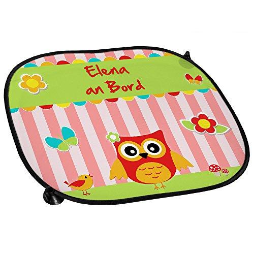 Auto-Sonnenschutz mit Namen Elena und schönem Eulen-Motiv für Mädchen - Auto-Blendschutz - Sonnenblende - Sichtschutz