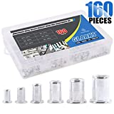 Glarks 160Pcs Aluminum Alloy M3 M4 M5 M6 M8 M10 Flat Head Metric Threaded Rivetnut Insert Nutsert Rivet Nut Assortment Kit