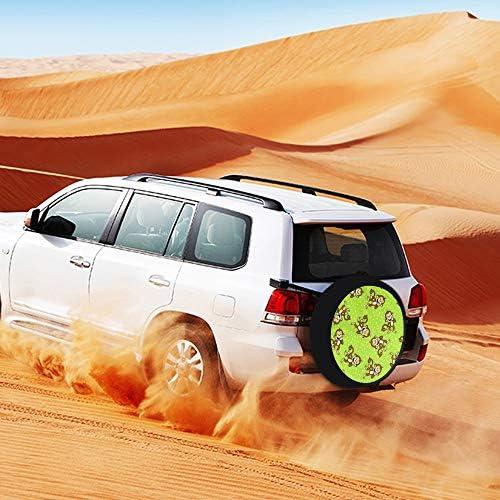 SUVタイヤカバー スペアタイヤカバー 緑 猿 タイヤ収納 カー用品 背面カバー 保管カバーパークレザー 雨よけカバー 背面スペアカバー 軽自動車 適用車 防水 簡単装着 車用15inch 17inch