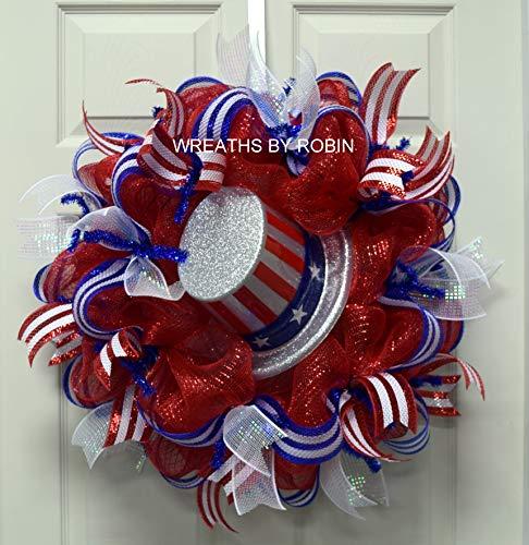 (RWB Memorial or Labor Day Wreath, 4th of July, Veterans Day, RWB Patriotic Wreath, Poly Mesh Wreath)