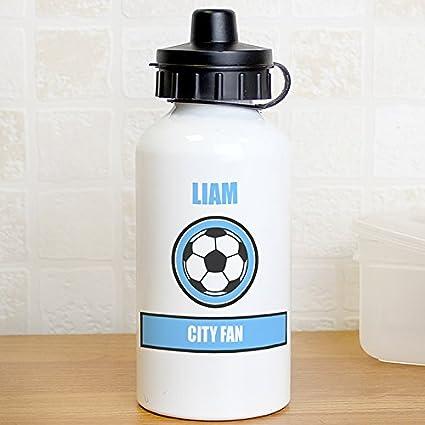 Placa personalizable en inglés para botella, diseño de balón de fútbol azul Team, botella