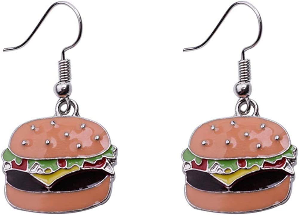 JczR.Y Mini Food Hook Earrings Creative Cute Pizza Hot Dog Cola Bottle Dangle Earrings for Girls