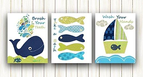 Navy Blue Green Nautical nursery wall art Kids Room Decor - Baby Nursery Art - Bathroom art - Set of three prints 8x10